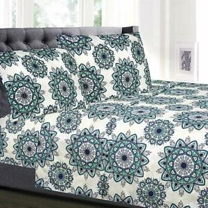 Ashley Green Mandala Printed 4-Piece 1800 Thread Count Sheet Set