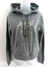 ABERCROMBIE & FITCH Womens Hoodie Jumper S Small Grey Cotton & Polyester