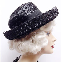 Vintage 1950s Black Woven Raffia Straw Curl Brim Womens Hat Mourning Tilt 1950s