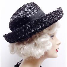 9f9651724cd Vintage 1950s Black Woven Raffia Straw Curl Brim Womens Hat Mourning Tilt  1950s