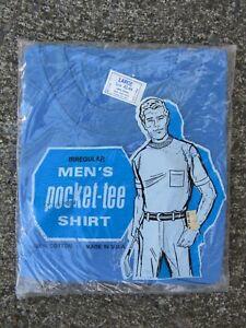 Vtg NOS 60s 70s Fruit of the Loom Square Pocket T Shirt USA Made Sz L NIP Blue