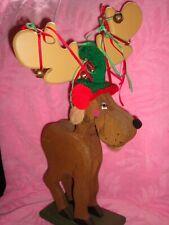 "Carved Wooden Painted Christmas Moose Nutcracker w/Woolen Cap Ribbons Bells 18"""