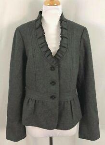New Ann Taylor Womens Blazer Gray Ruffles Lined Wool 14 Large
