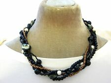 "20"" Multi strand Black bronze pearl shell twist Necklace Ladies Gift Fair Trade"