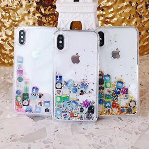 Iphone 11 Pro 6S X XS MAX 7/8 Plus Glitter App Apple Case Cover Floating Liquid