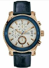 NIB Authentic GUESS Men's Blue Leather Rose Gold Tone Chronograph Watch U0673G6