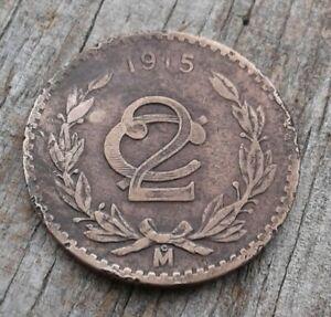 1915Mexico 2 Centavos Zapatista Bronze 20mm Mexican Revolution