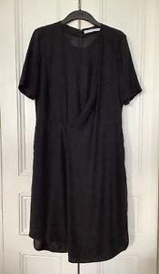 & OTHER STORIES BLACK ASYMMETRIC DRAPED PLEAT DRESS UK14 EU42 SIDE POCKETS