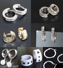 Huggie Hoop Earrings Mens Womens Bling Surgical Stainless Steel Acrylic Pair