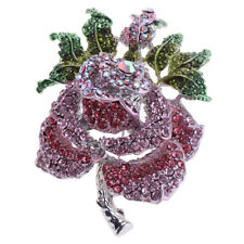 Fashion Charm Purple Rose Flower Rhinestone Crystal Brooch Pin Dress Jewelry