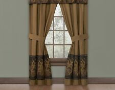 "Browning Oak Tree Buckmark Lined Rod Pocket Curtains/Drapes 42"" x 84"" panels"
