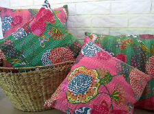 50cm Cushion: Cover India Hand Made Floral 100% Cotton Embroidered Pillow Kantha