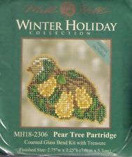 Christmas Pear Tree Partridge Counted Cross Stitch Glass Bead Kit by Mill Hill