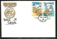 TURKS & CAICOS # 468-470 DISNEY PLUTO'S ANNIVERSARY First Day Cover