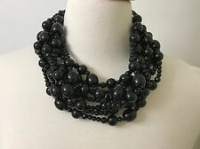 Spectacular Angela Caputi Multi Strands Black Resin Bead Statement Necklace