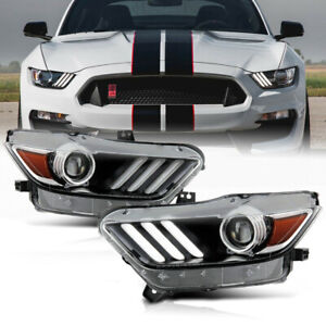 [XENON] OE-Style LED DRL Headlight Lamp Pair For 15-17 Ford Mustang/18-20 Shelby