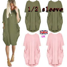 Women Lagenlook Quirky Boho Jersey Baggy Pocket Tunic Casual Shirt Dress UK 6-20