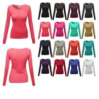 FashionOutfit Women's Basic Solid Cotton Based Crew Neck Long Sleeves Tee Top