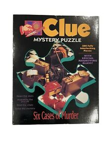 """Clue Mystery Puzzle """"Six Cases Of Murder"""" 500 Pieces With Magnifying Glass 1992"""