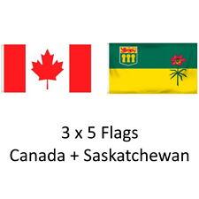 CANADA + SASKATCHEWAN 3ft X 5ft bandera/bandera 2 PK de alta calidad de 100% Poliéster