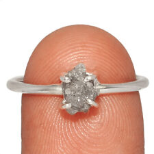 Natural Diamond Rough 925 Sterling Silver Jewelry Ring s.8.5 AR181082