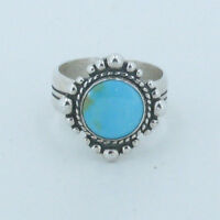 925 Sterling Silver Natural Kingman Turquoise Southern Sun Ring Size 7
