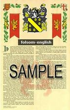 FOLSOM Armorial Name History - Coat of Arms - Family Crest GIFT! 11x17