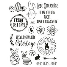 "Stempel ""Frohe Ostern"" Viva Decor, Osterhase, Osterei, Clear Stamp Set"