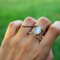 Rainbow Moonstone Ring 925 Sterling Silver Band Ring Handmade Ring Jewelry C23