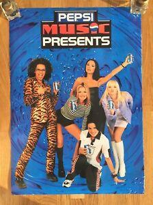 Vintage 1990s Spice Girls Promotional Pepsi Presents Poster Memorabilia