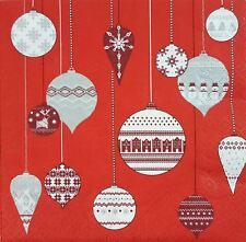 NOËL NORDIQUE boules rouge 33cm x 20 3 plis Serviettes en papier
