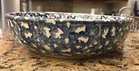 "Vintage Spongeware Cobalt Blue Stoneware Serving Bowl 9"""