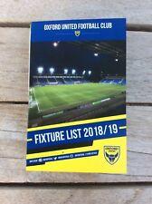 Oxford United Football Fixture Card 2018-2019 Season Sky Bet League One