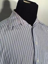 Ermenegildo Zegna Small 39 - 15 1/5 Blue Striped Long Sleeve Button-Front Shirt