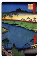 Japanese Woodblock Art Print: Sacred Buddhist Religious Temple Shrine on River.