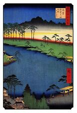 Japanese Woodblock Art Print: Sacred Buddhist Religious Temple Shrine on River.