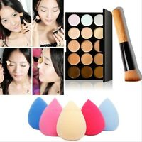 15 Colors Makeup Contour Face Cream Concealer Palette+Sponge Puff+Powder Brush