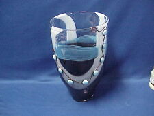 """LARGE Studio Art Glass Vase Blue, White, Brown Silver Wire Wrapped Beads 14"""""""