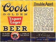 Coors Golden Export Lager Beer 12oz IRTP Label Adolph Coors Co Golden CO