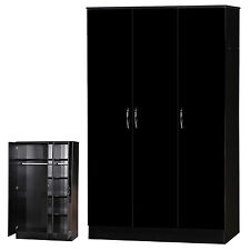 Black High Gloss Two Tone Triple Wardrobe 3 Door Adult Large Furniture Unit