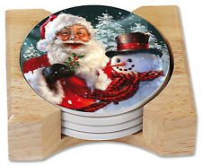 Old Saint Nick & Snowman Absorbent Stoneware Coasters Gift Set w/Holder