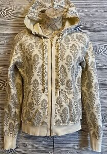 Vintage JUICY COUTURE Cream & Glitter Gold Cotton Hoodie Sweatshirt Jacket M