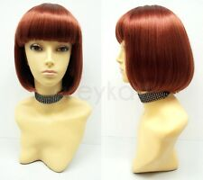 Auburn Red Short Bob Wig Straight Bangs Synthetic Cosplay Page Boy 9""