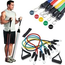 NEW RESISTANCE BANDS WORKOUT EXERCISE YOGA { 11 PIECE SET CROSSFIT FITNESS TUBES
