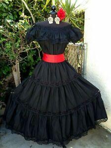 MEXICAN DRESS  FIESTA,5 DE MAYO,DAY OF THE DEAD OFF SHOULDER W/RUFFLE 2 PIECE