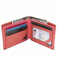 Genuine Leather Slim Bifold Wallet With Flip-Up ID Window RFID Blocking - Pink