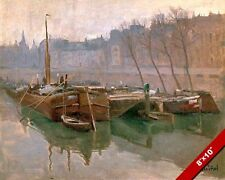 BOATS AT DOCK IN SENA ARAGON SPAIN SPANISH RIVER PAINTING ART REAL CANVAS PRINT