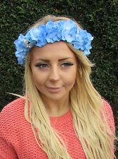 Bleu Clair Fleur D'hortensia Cheveux Couronne Couronne Bandeau Coiffure