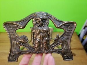 Vintage Art Nouveau Brass Owl Sliding Expanding Bookends