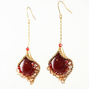 Flamenco Blood Red Glass and Crystals Chain Drop Earrings    APER5107 Matte Gold